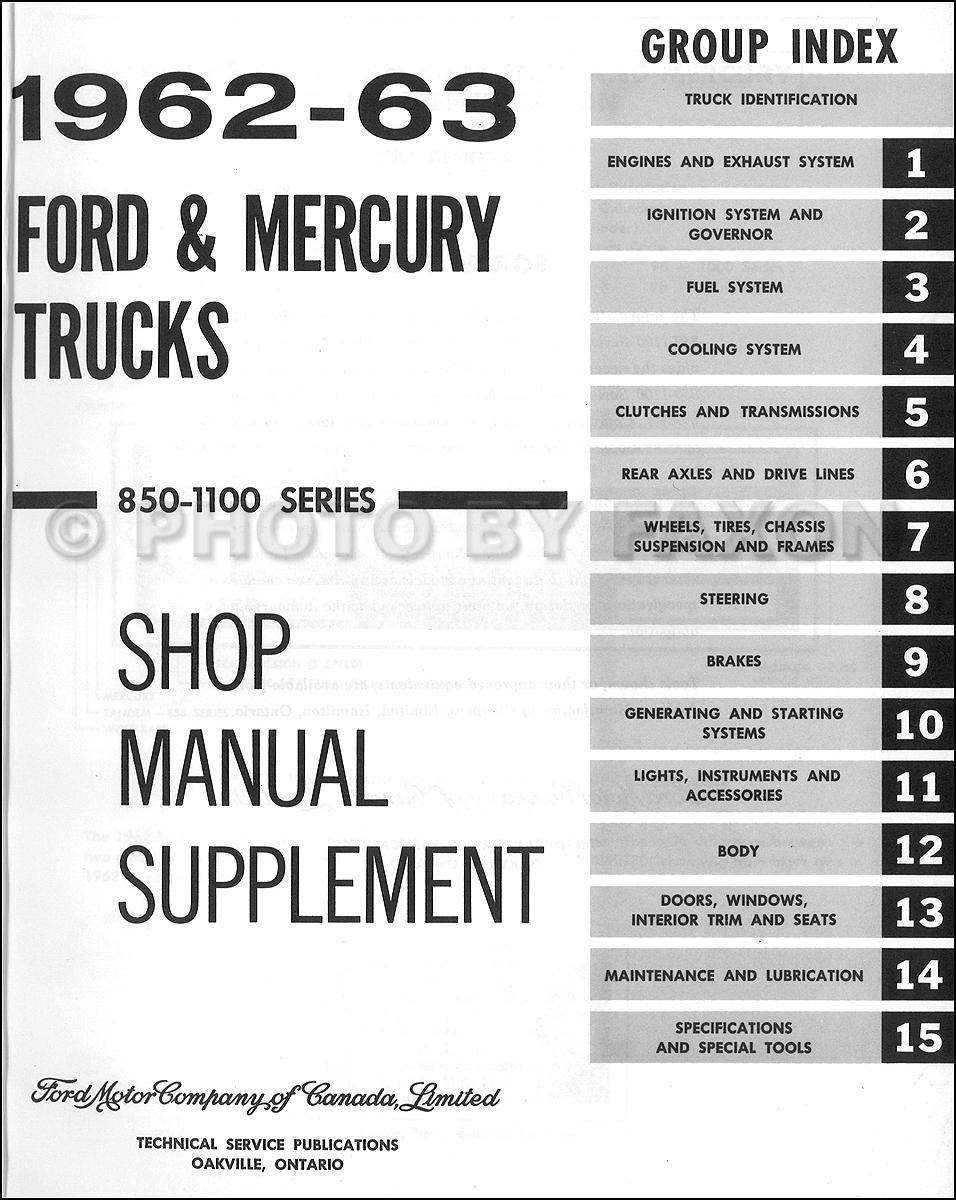 1962 1963 ford mercury 850 1100 heavy truck repair shop. Black Bedroom Furniture Sets. Home Design Ideas