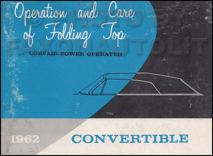 1962 1963 chevrolet corvair wiring diagram manual reprint 1962 chevrolet corvair monza convertible power top owner s manual original 199 00