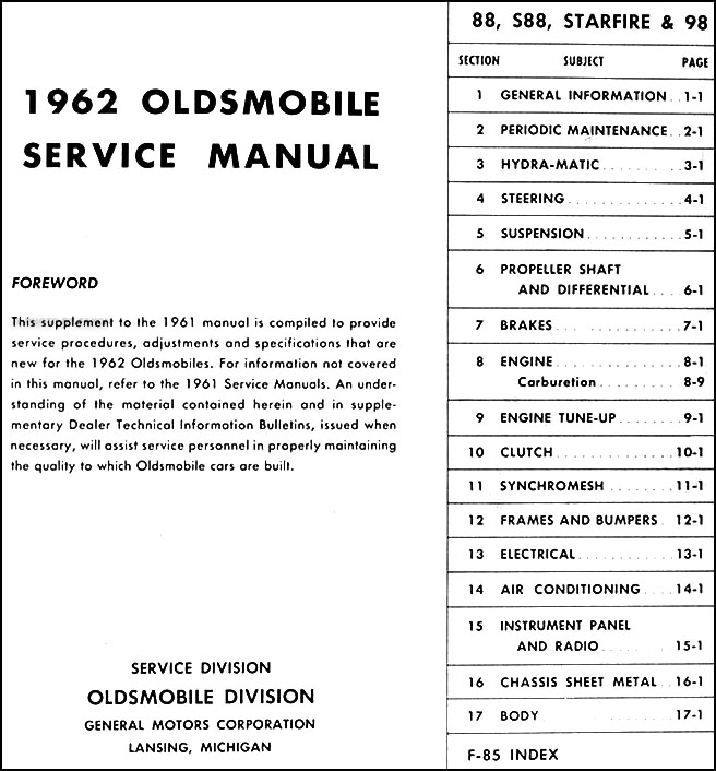 1962 oldsmobile repair shop manual original supplement