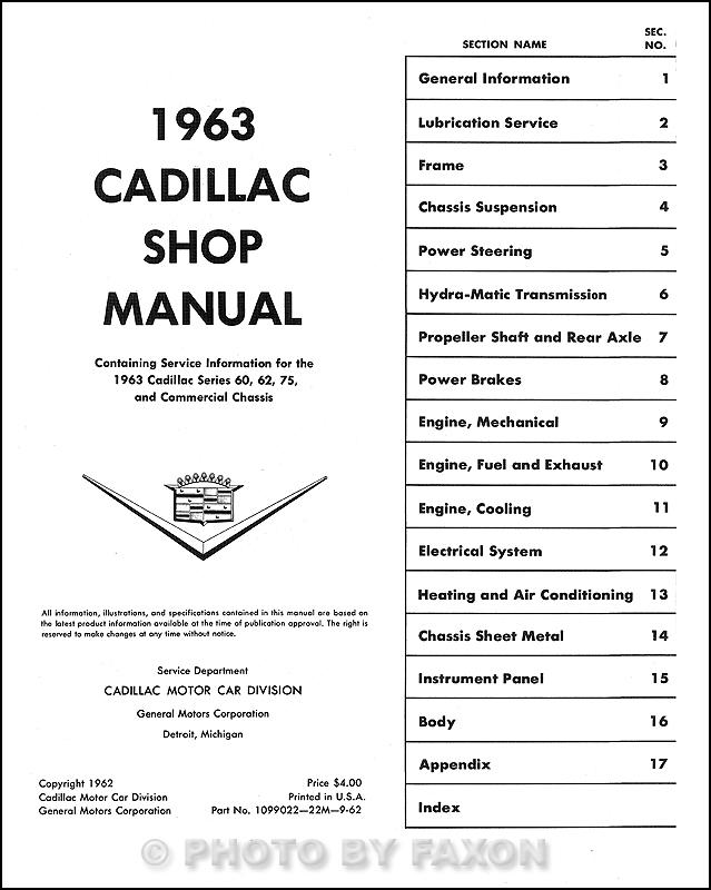 1963 Cadillac Repair Shop Manual Reprint -- All Models