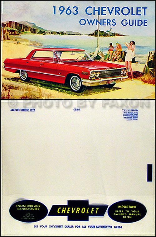 1963 Chevrolet Car Reprint Owner's Manual Package