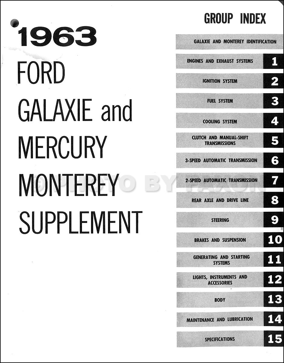 1963MercuryMontereyORMS TOC 1962 1963 mercury monterey repair shop manual supplement original 1956 Mercury Wiring Diagram at gsmportal.co