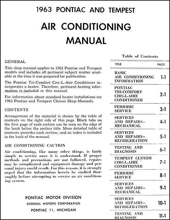 1963 Pontiac Air Conditioning Repair Shop Manual Originalrhfaxonautoliterature Wiring Diagram At Oscargp: Wiring Diagram For 1963 Pontiac At Submiturlfor.com