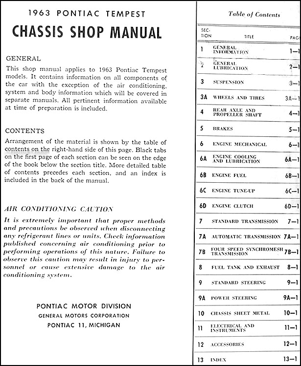1963 pontiac tempest and lemans repair shop manual original table of contents