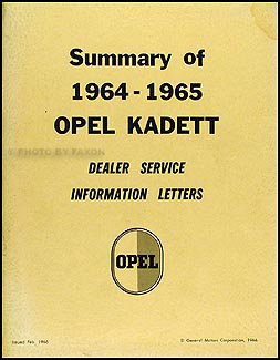 1964 1965 opel kadett service bulletin manual original rh faxonautoliterature com haynes opel kadett service and repair manual free download opel kadett b service manual