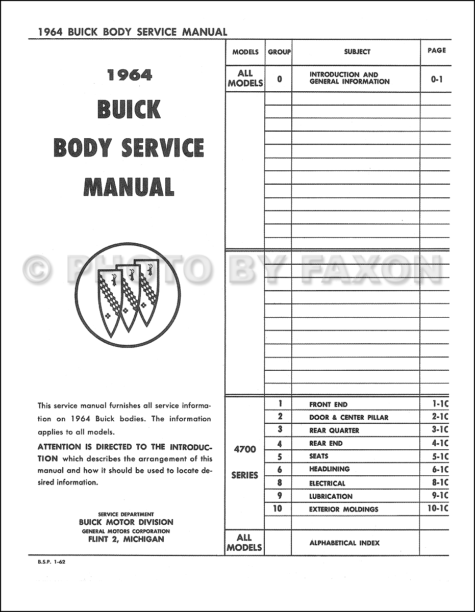 1964 Buick Riviera Body Repair Shop Manual Reprint