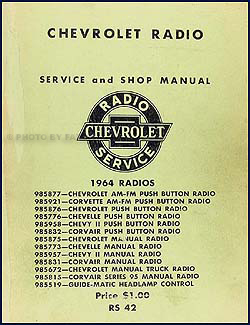 1964 Chevy Radio Manual Original Car, Corvette & Truck