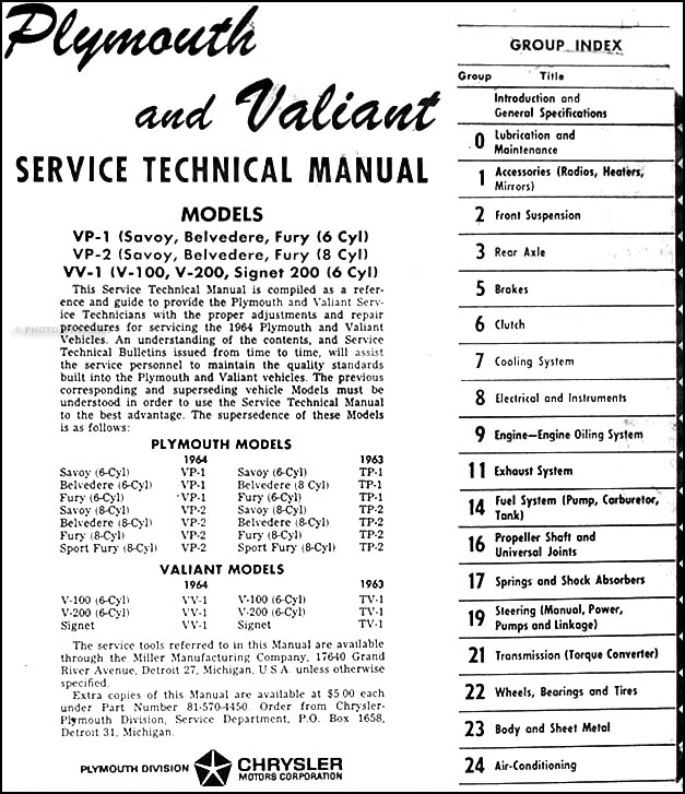 1964 plymouth  u0026 valiant repair shop manual original