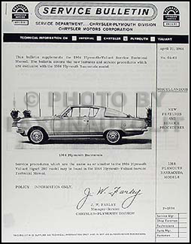 1964 Plymouth Barracuda Shop Manual Supplement Reprint