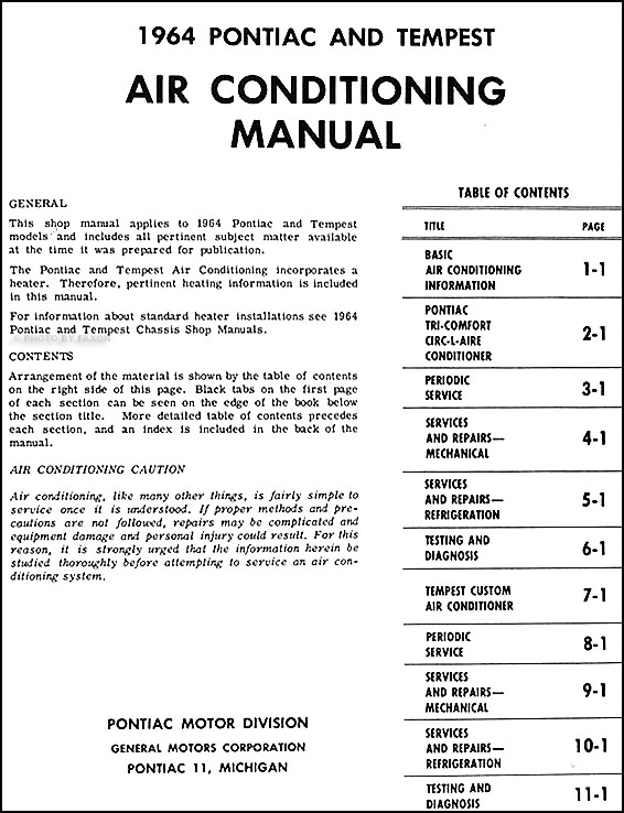 1964PontiacACM TOC 1964 pontiac air conditioning repair shop manual original 1965 pontiac grand prix wiring diagram at crackthecode.co
