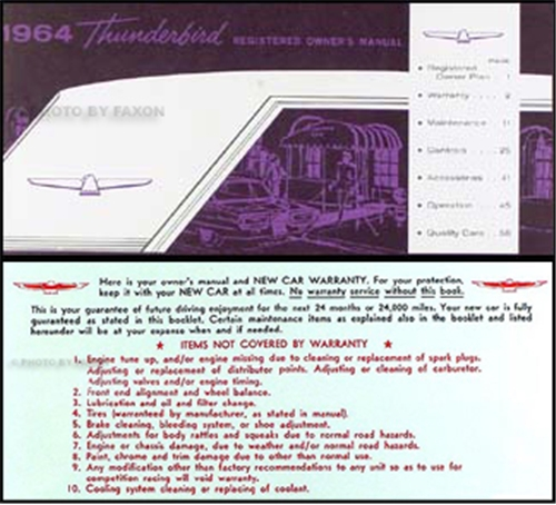 1964 ford thunderbird owners manual reprint publicscrutiny Images