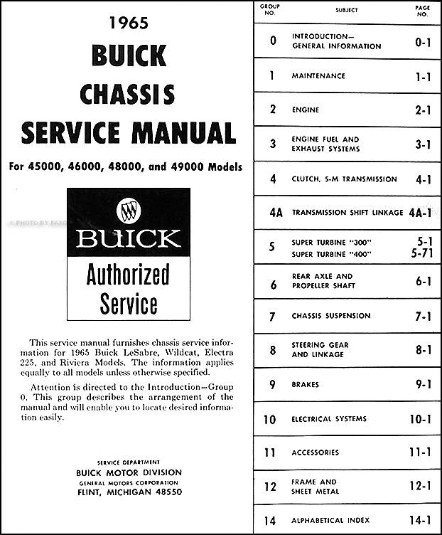 1965 Buick Repair Shop Manual Original