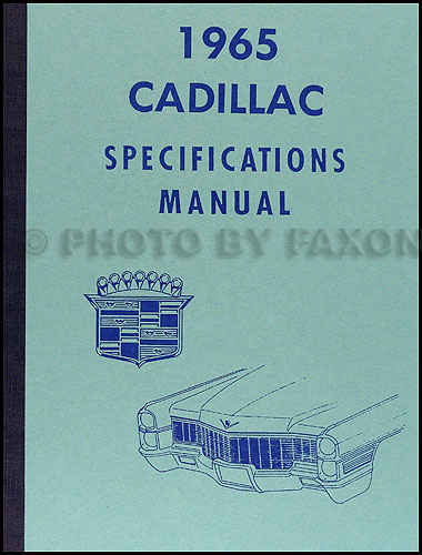 1965 Cadillac Optional Specifications Book Reprint
