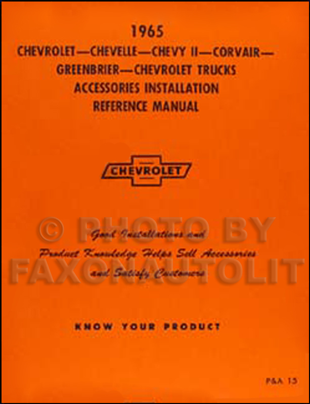 1965  Chevy Accessory Installation Manual Reprint - all car and truck