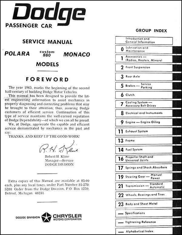 1965DodgeMonacoORM TOC 1965 dodge polara, monaco, & 880 repair shop manual reprint 1966 Dodge Polara at bakdesigns.co
