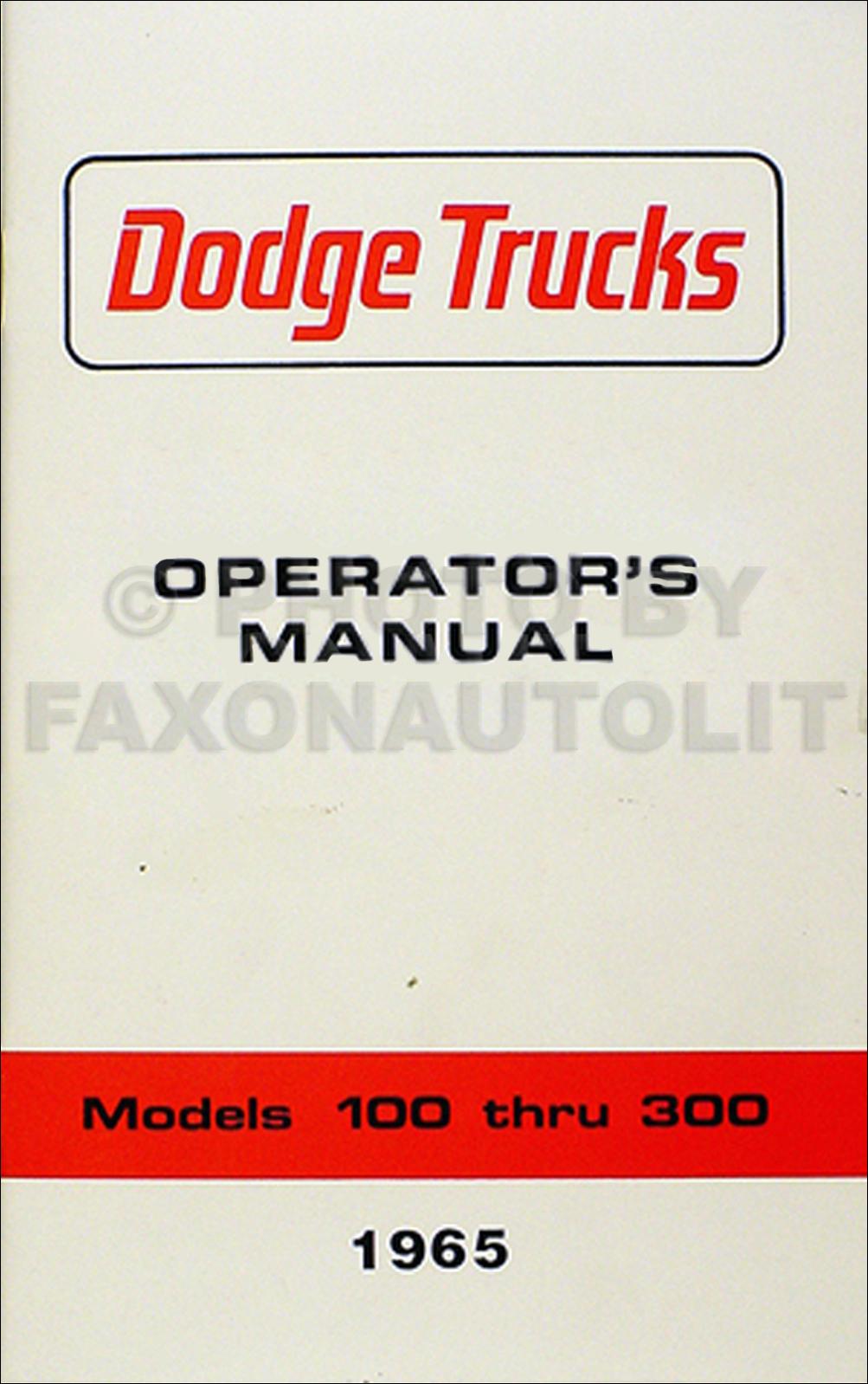 1965 dodge truck owner manual d100 d300 pickup a100 van w100 wm300 rh ebay com dodge truck service manual dodge truck owners manual