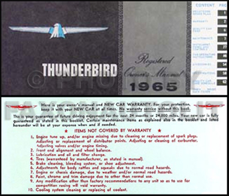 1965 ford thunderbird wiring diagram manual reprint 1965 ford thunderbird owner s manual reprint