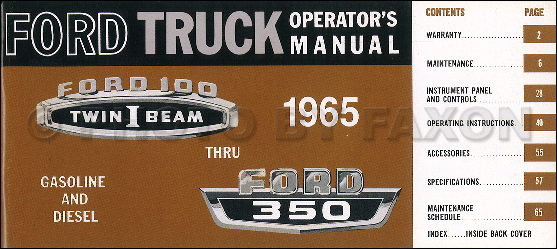 1965 Ford F100 F250 F350 Pickup Truck Owner's Manual Reprint