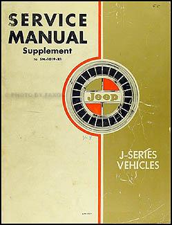1965 Jeep Gladiator & Wagoneer V8 Shop Manual Original Supplement
