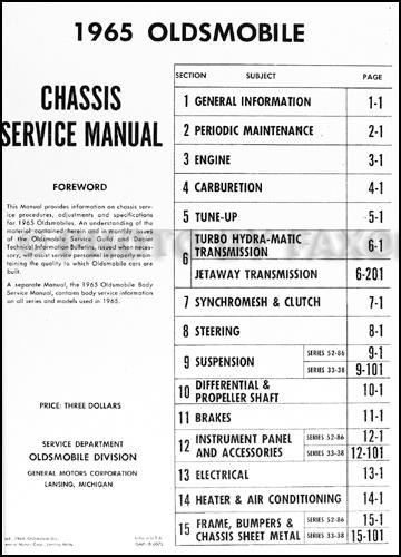 1965 oldsmobile repair shop manual reprint 88 98 jetstar starfire. Black Bedroom Furniture Sets. Home Design Ideas