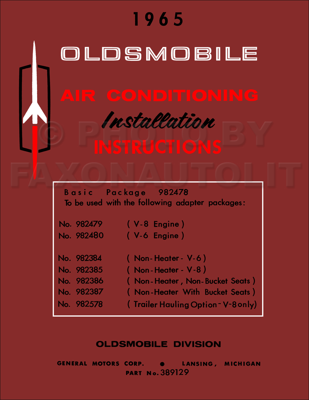 1965 Oldsmobile Air Conditioning Installation Instruction Manual Reprint Olds 442 Wiring Diagram 1958 Pontiac Repair Original