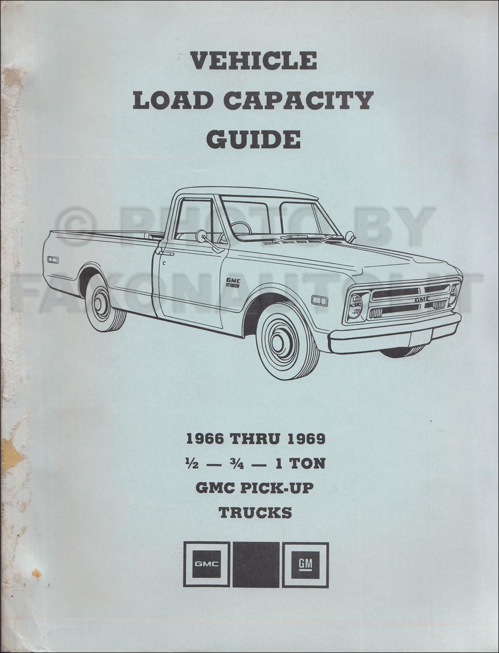 1966 1969 gmc pickup truck load capacity manual original