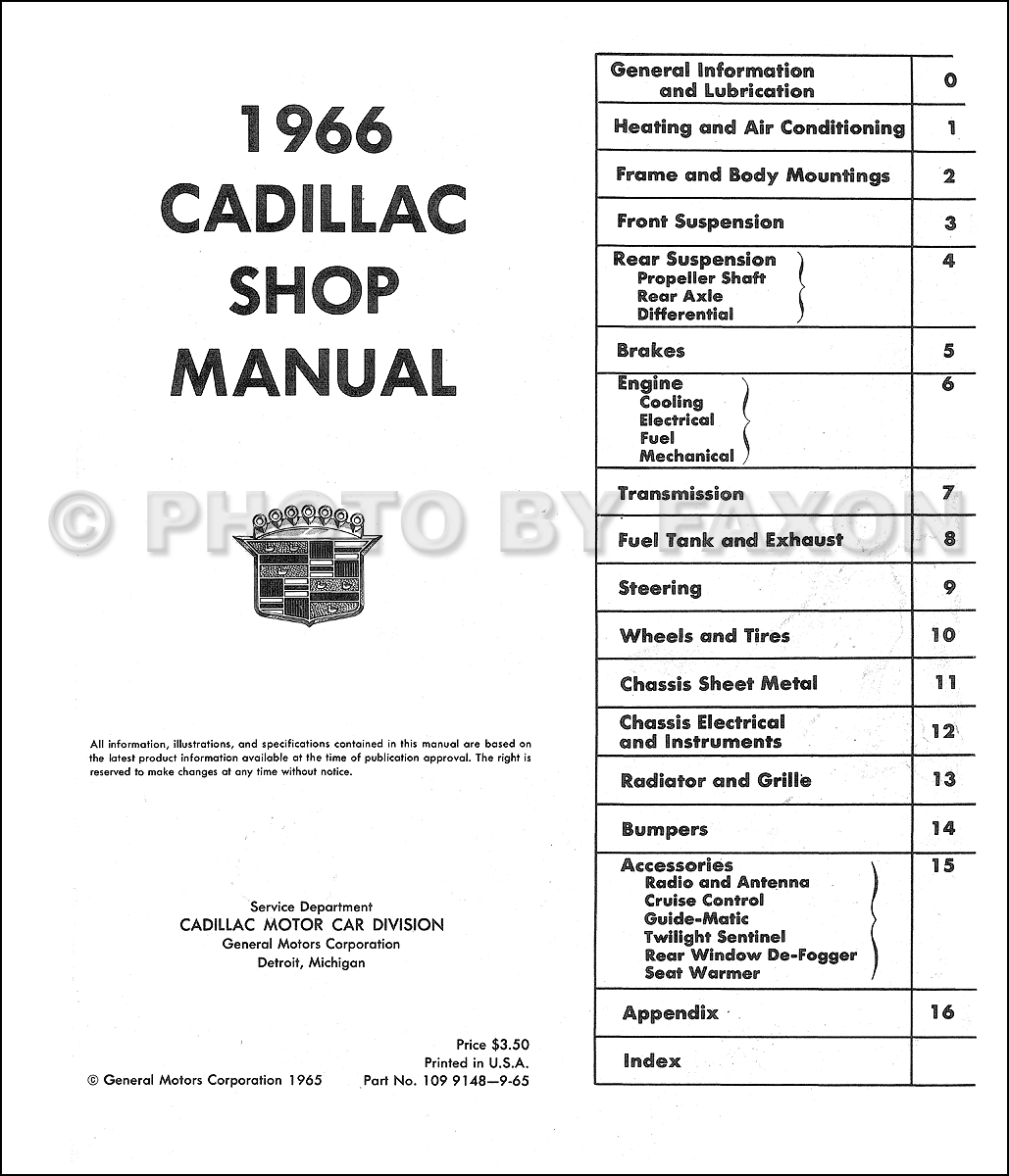 1966 Cadillac Repair Shop Manual Reprint on cadillac fuse box diagram, 1963 cadillac vacuum diagrams, cadillac wiring parts, cadillac ac diagram, cadillac deville starter wiring, cadillac troubleshooting, 2000 cadillac eldorado electrical diagrams, cadillac manual transmission,