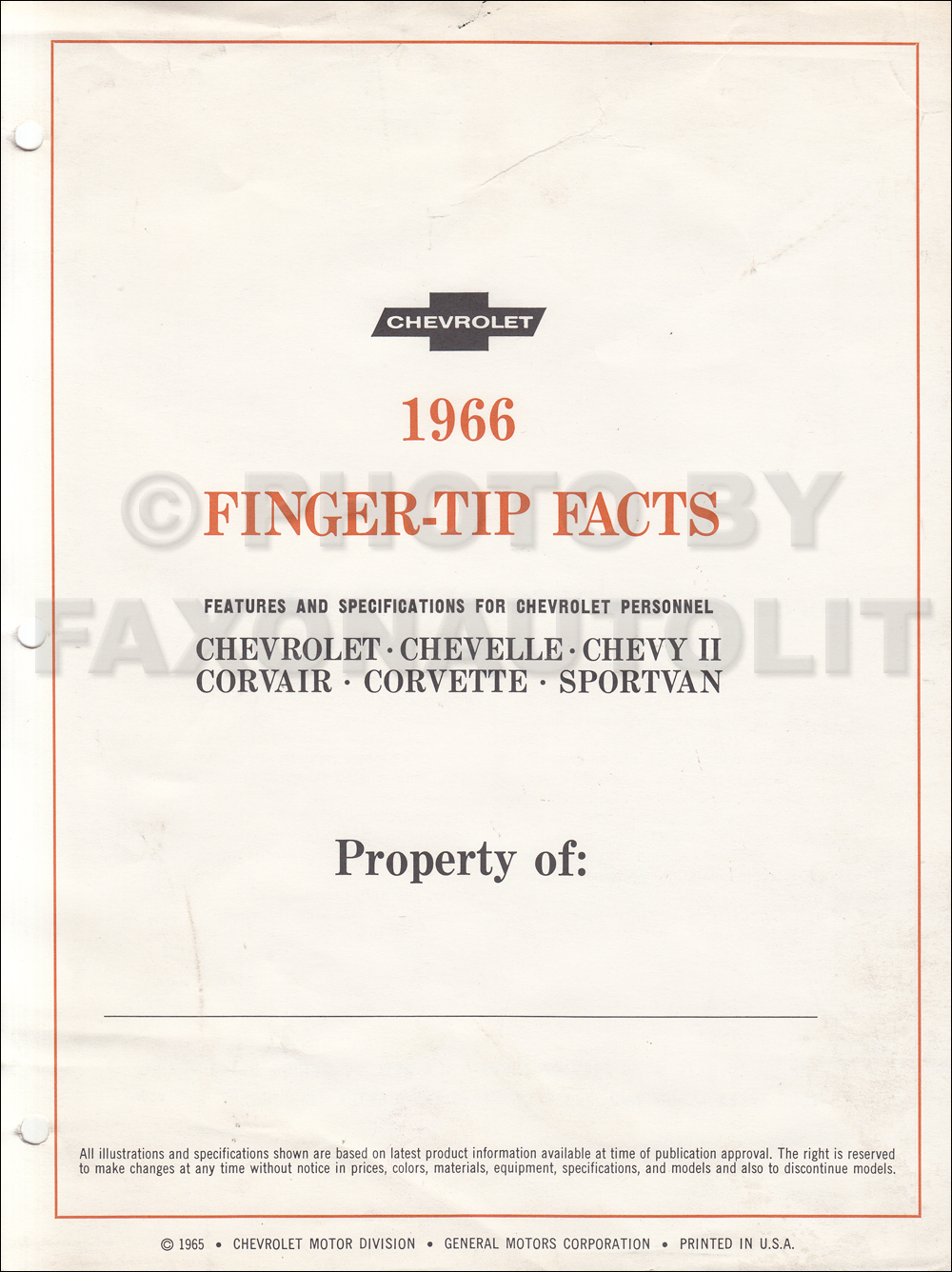 1966 Chevrolet Car Finger Tip Facts Book Dealer Album Original 1962 Chevy Wiring Diagram Manual Reprint Impala Ss Bel Air Biscayne