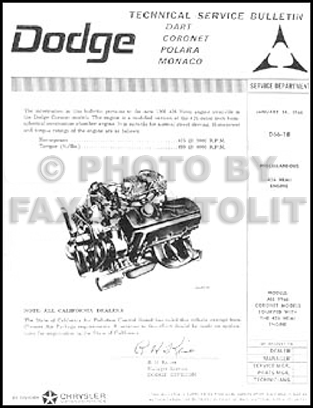 1966 Coronet Wiring Diagram Manual Reprint