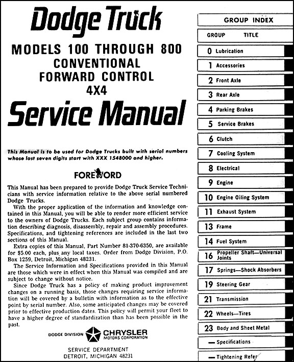 1966DodgePickupORM TOC 1966 dodge 100 800 pickup & truck repair shop manual original 1976 dodge truck wiring diagram at aneh.co
