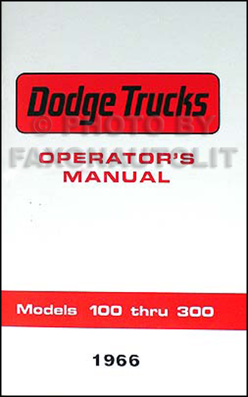 1966 Dodge Reprint Owner's Manual Pickup Truck, Van & Power Wagon