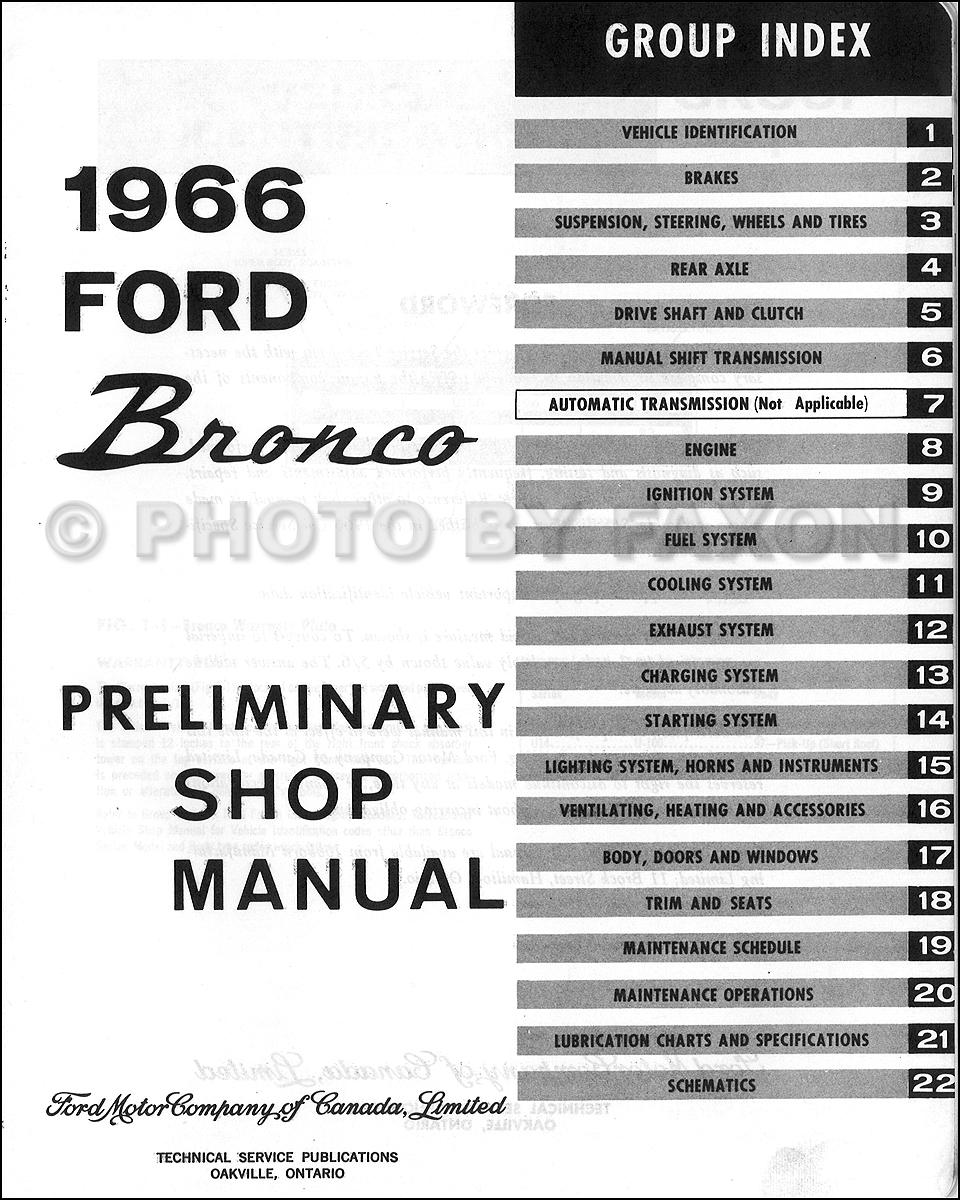 1966 Ford Bronco Preliminary Repair Shop Manual Original Canadian
