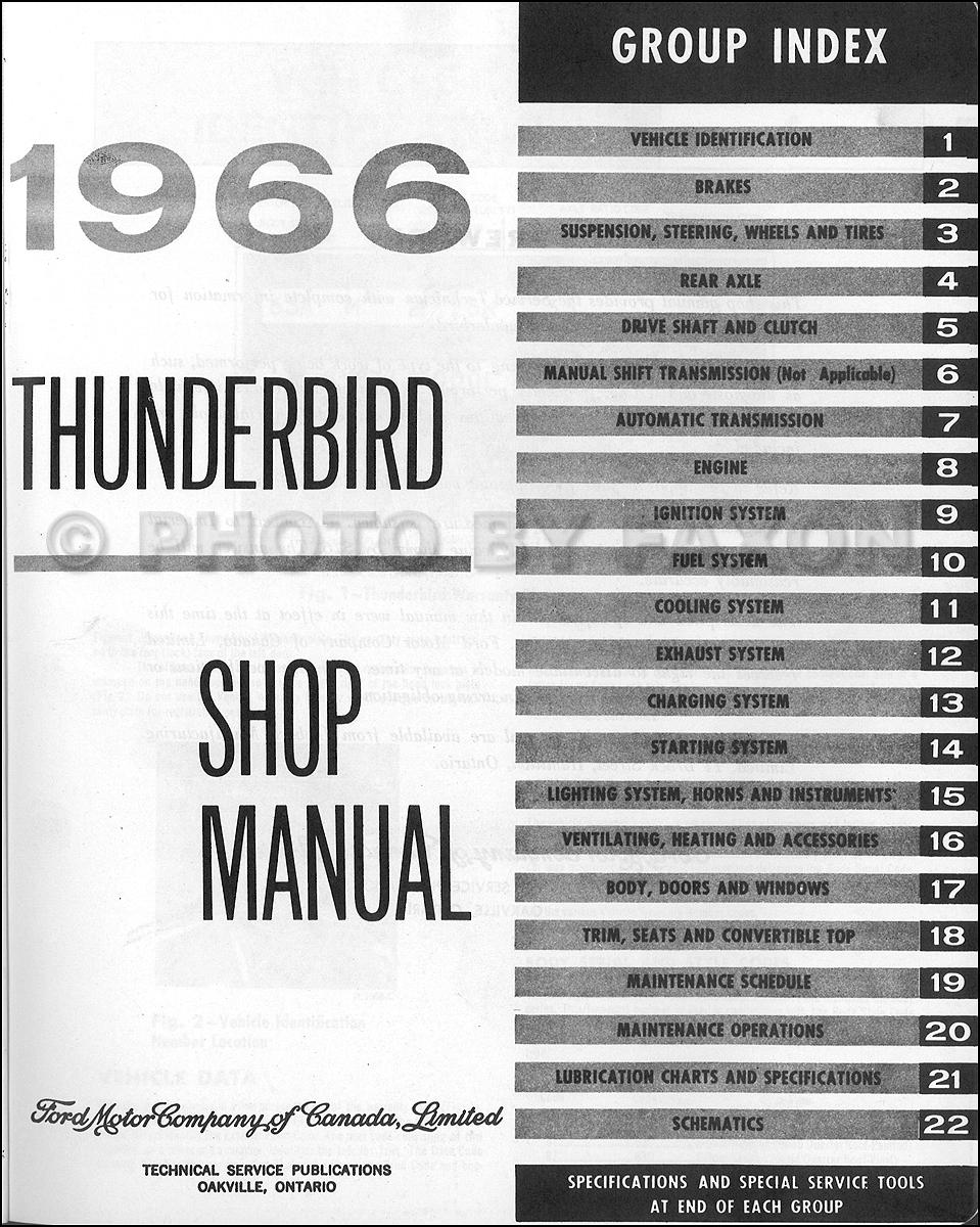 1966 Ford Thunderbird Repair Shop Manual Original Canadian
