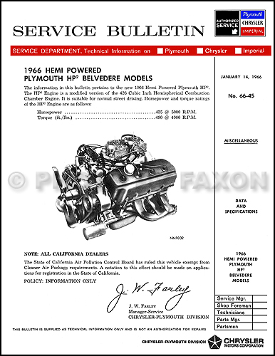 1966 plymouth belvedere 426 hemi hp2 engine service manual reprint rh faxonautoliterature com hemi engine and manual transmission for sale hemi 265 engine manual