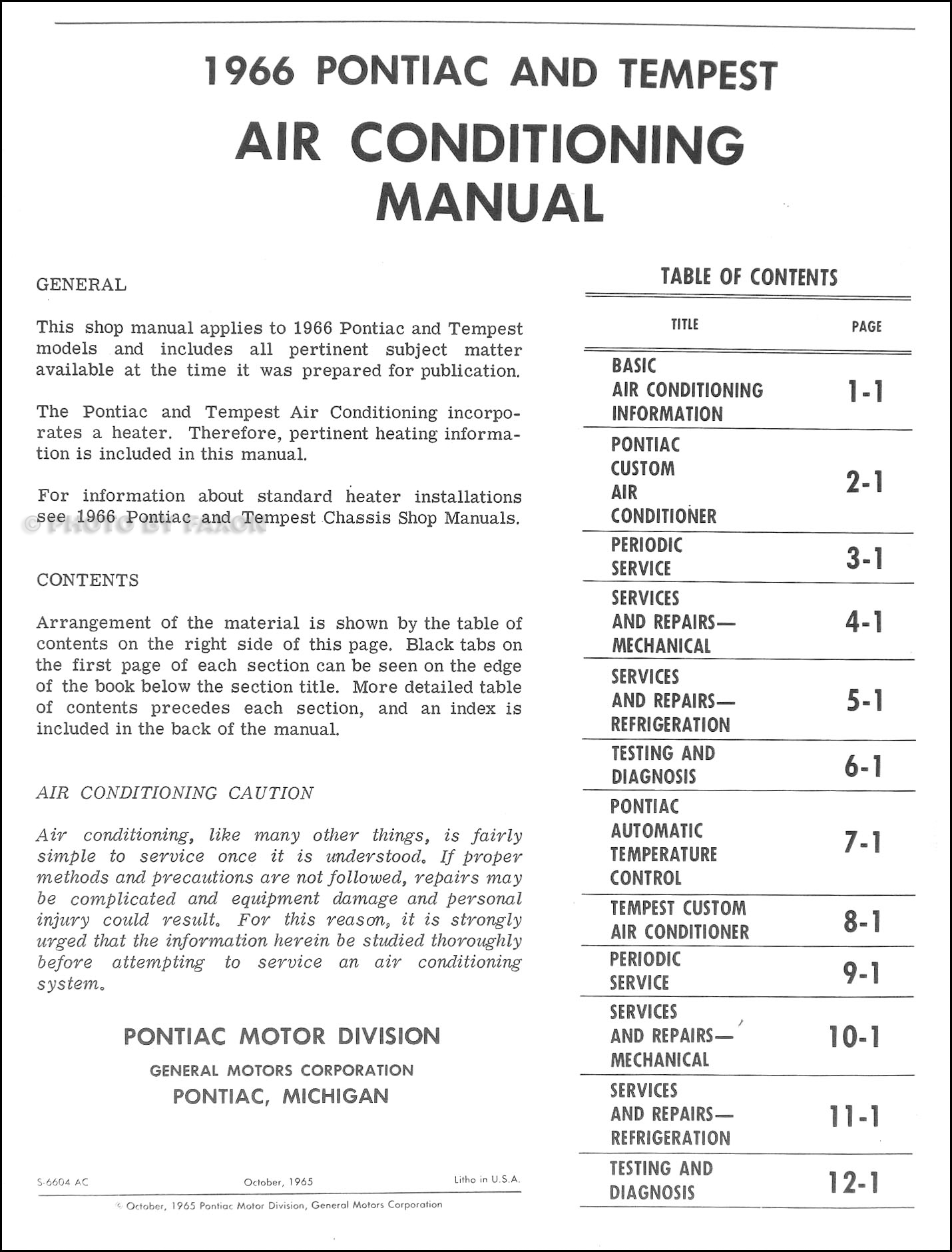 1966 pontiac air conditioning repair shop manual original, Wiring diagram