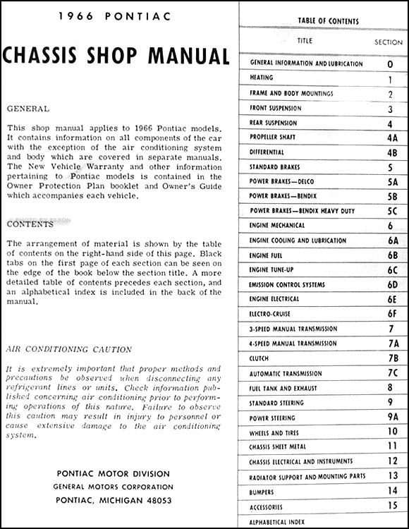 1966 pontiac chassis repair shop manual original bonneville table of contents