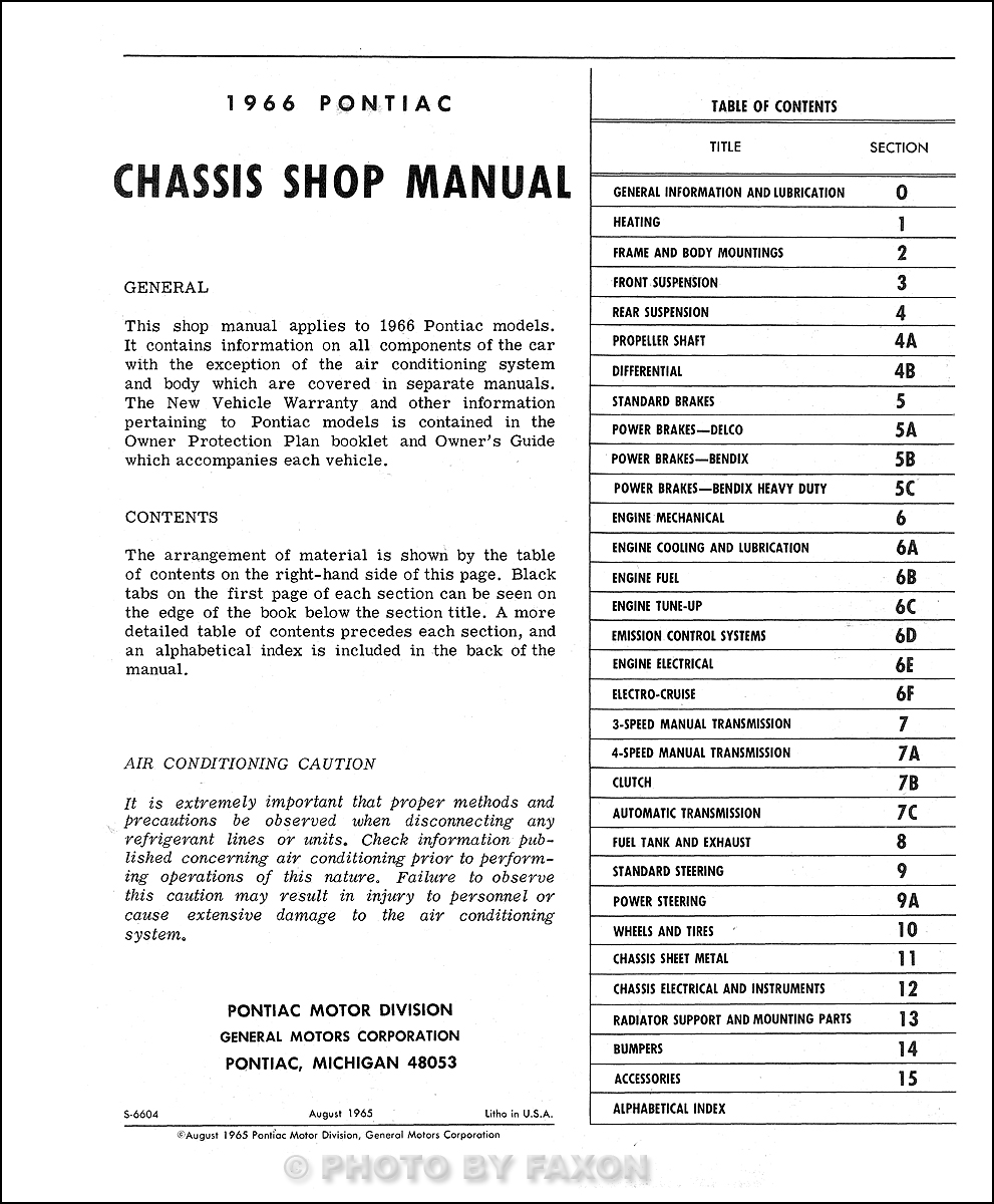 pontiac repair shop manual reprint bonneville grand prix table of contents