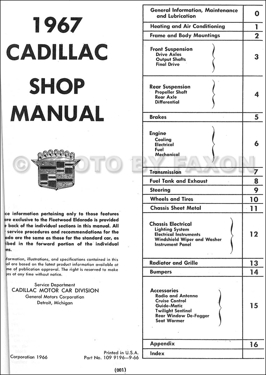 1967CadillacCHRRM TOC 1967 cadillac repair shop manual reprint calais de ville fleetwood 67 cadillac wiring diagram at mifinder.co