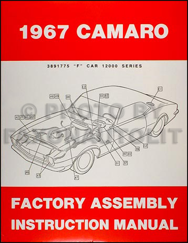 1967 camaro factory assembly manual reprint including rs