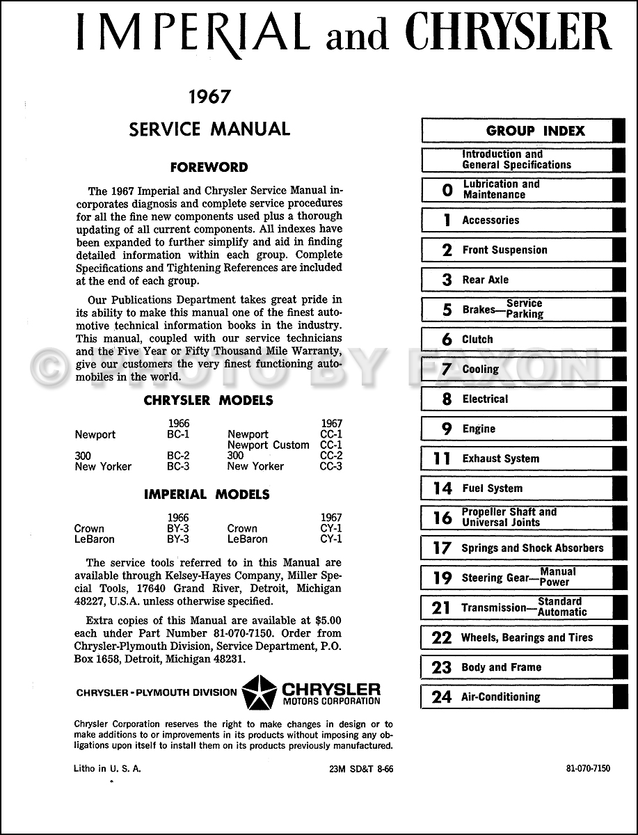 Chrysler And Imperial Repair Shop Manual Reprint - 1964 chrysler newport wiring diagram