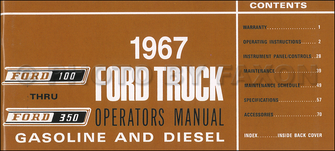 1967 ford f100 f250 f350 pickup truck owner s manual reprint
