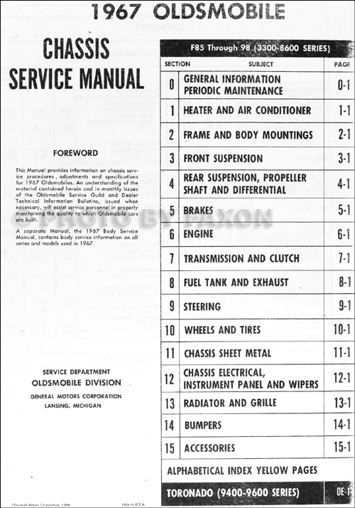 1967OldsCH RRM TOC 1967 oldsmobile repair shop manual reprint 1967 olds 442 wiring diagram at soozxer.org