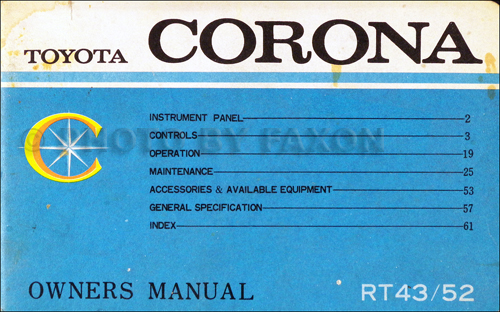 1968-1969 Toyota Corona Engine Repair Shop Manual No. 98022-01 (3R-C)