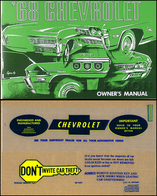 1968 chevy wiring diagram reprint impala ss caprice bel air biscayne 1968 chevy owner manual reprint package impala caprice bel air ss biscayne