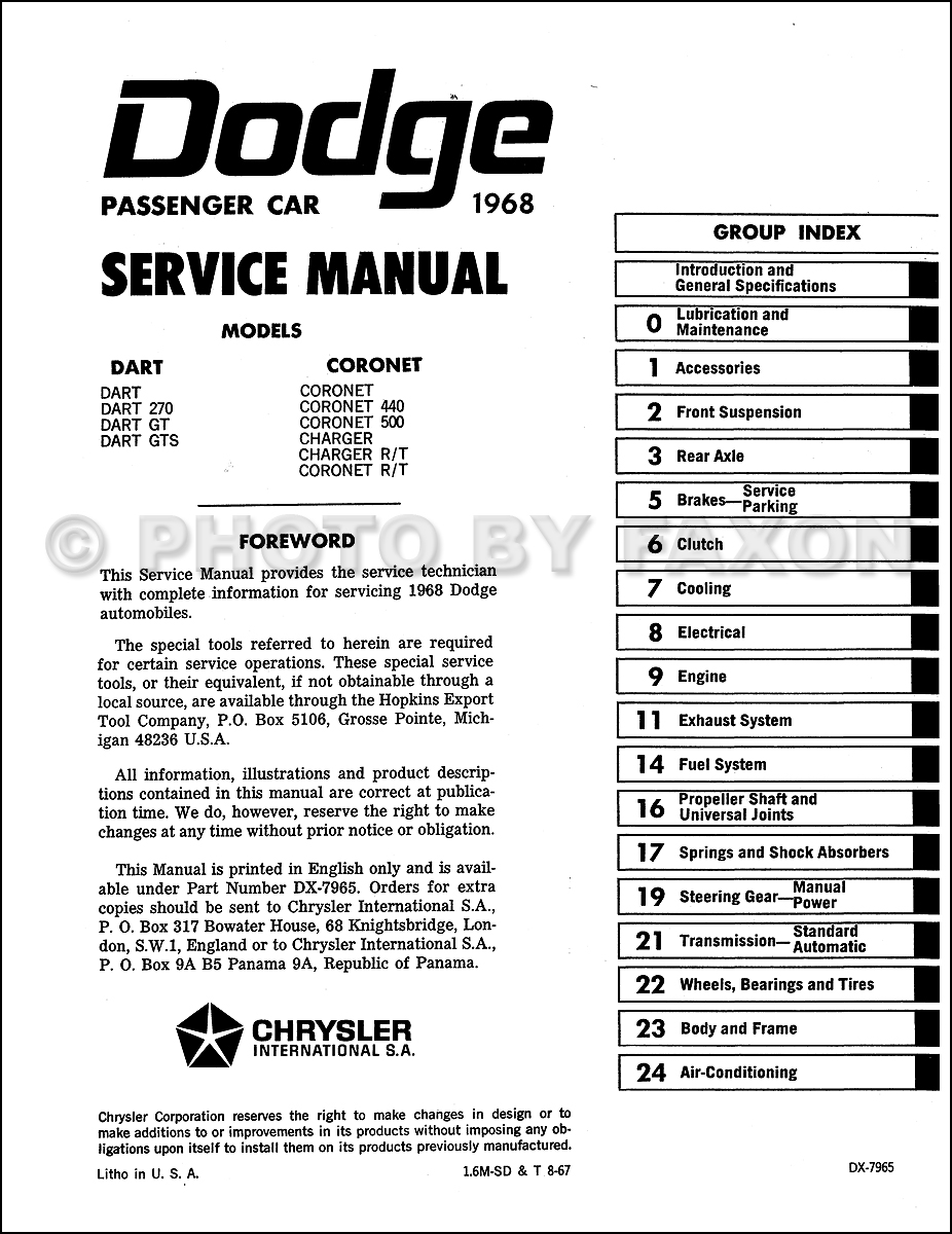1968 Dodge Dart Wiring Diagrams Bgmt Data 1970 Challenger Alternator Charger Coronet Repair Shop Manual Reprint Diagram