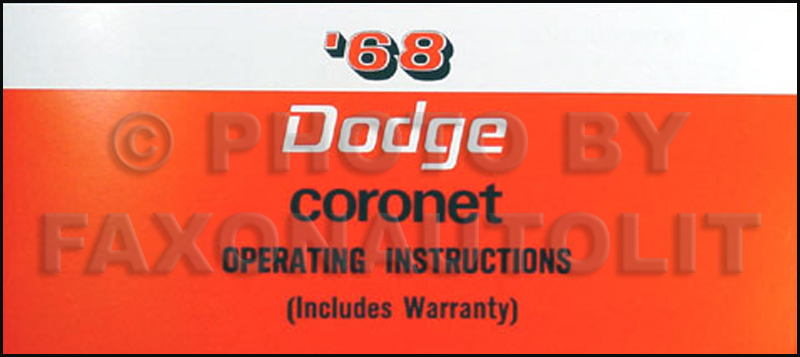 1968 Coronet & R/T Wiring Diagram Manual Reprint