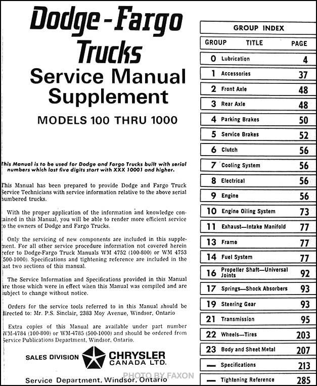 1968 Canadian Dodge Truck And Fargo Repair Shop Manual