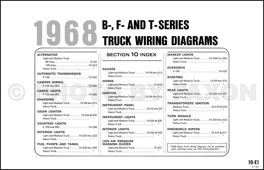 1968 ford b f and t series wiring diagram original 100 1000 table of contents page