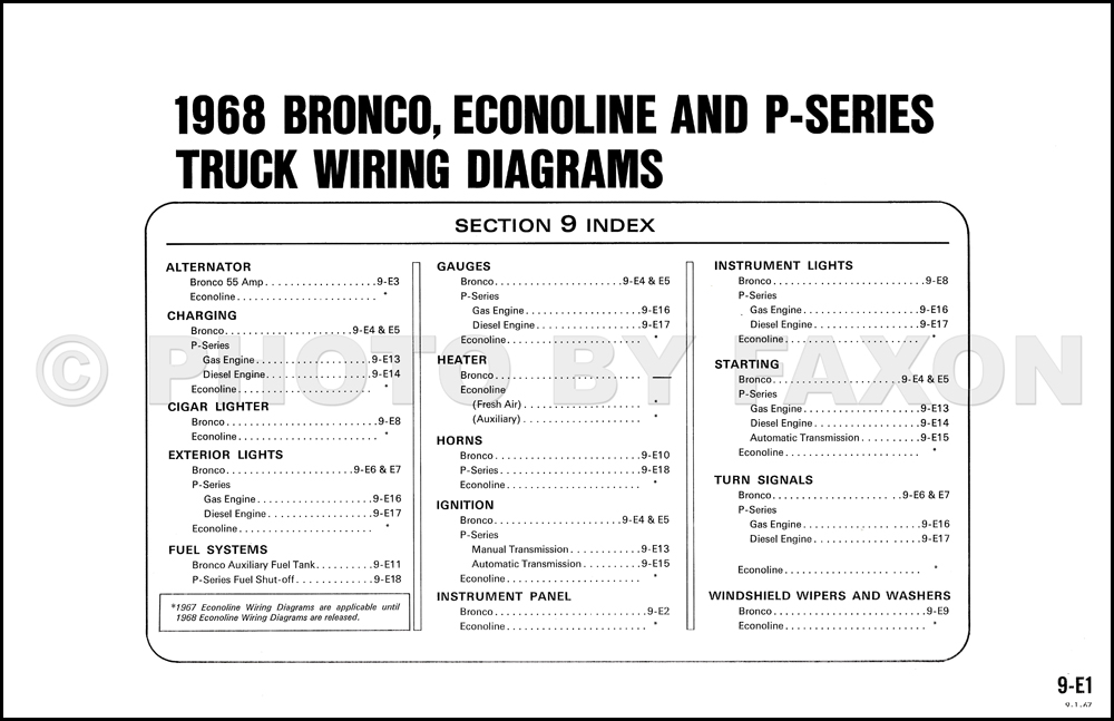 1968 ford bronco and p series wiring diagram original table of contents page