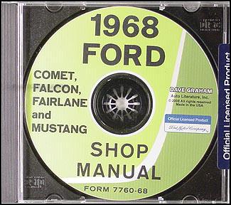 1968 ford shop manual cd mustang ranchero torino fairlane. Black Bedroom Furniture Sets. Home Design Ideas